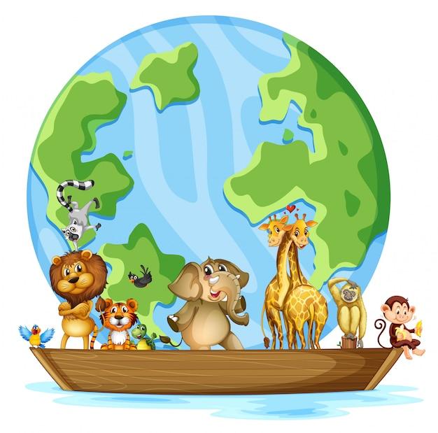 世界中の多くの動物 無料ベクター