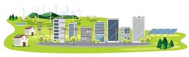 多くの建物と太陽電池のあるシーン 無料ベクター