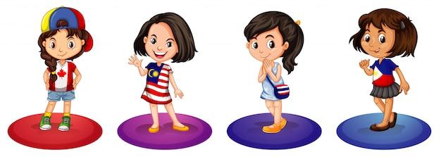 Четыре девушки из разных стран Бесплатные векторы