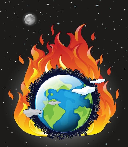 Глобальное потепление с землей в огне Бесплатные векторы