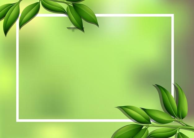 Пограничный фон с зелеными листьями Бесплатные векторы