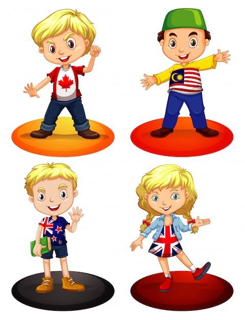 Дети из разных стран Бесплатные векторы
