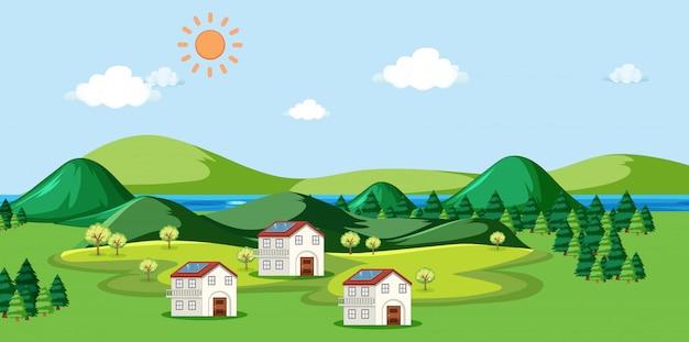 屋根の上の家と太陽電池のあるシーン 無料ベクター