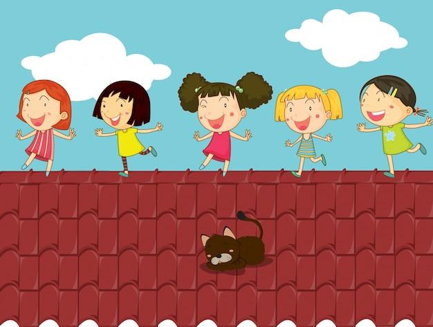 屋根の上の子供の漫画のイラスト Premiumベクター