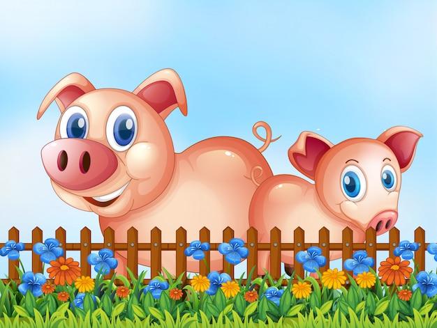 屋外シーンの豚 無料ベクター