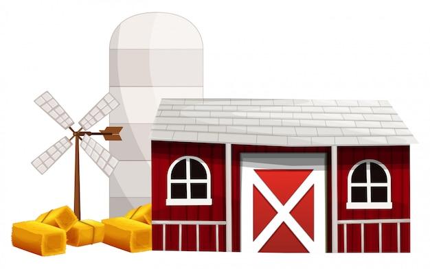 サイロと納屋の農場のシーン 無料ベクター