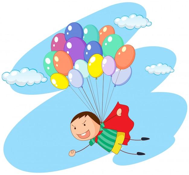 空の風船で飛んでいる少年 無料ベクター