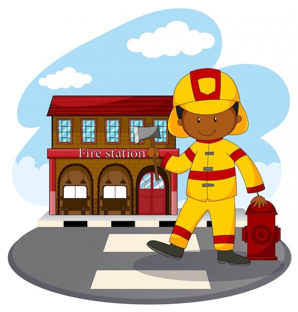 消防士と消防署 無料ベクター
