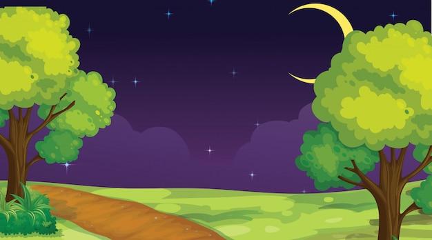 夜の公園のシーン 無料ベクター