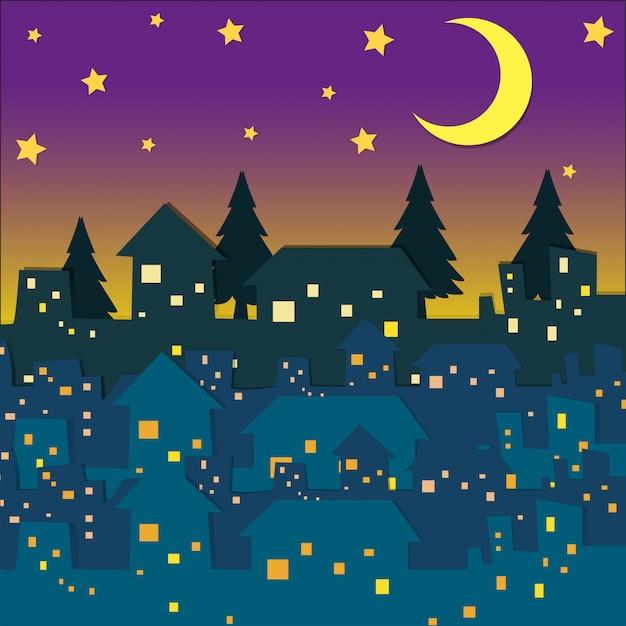 多くの家の夜景 無料ベクター