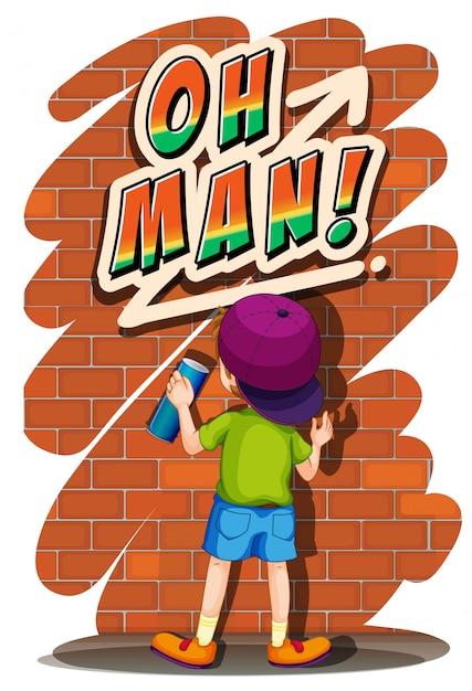 壁に吹きかける少年 無料ベクター