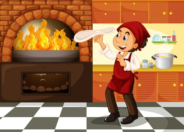 熱いストーブでピザを作るシェフ Premiumベクター