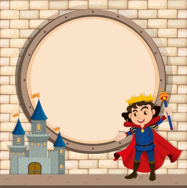 王と城のボーダーデザイン Premiumベクター