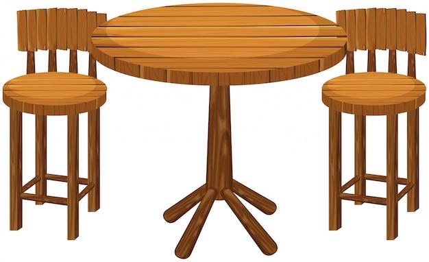 Круглый деревянный стол и стулья Бесплатные векторы