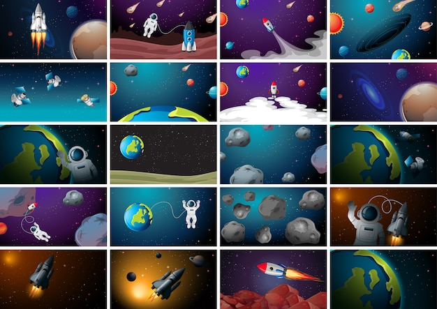 Огромная космическая сцена Premium векторы