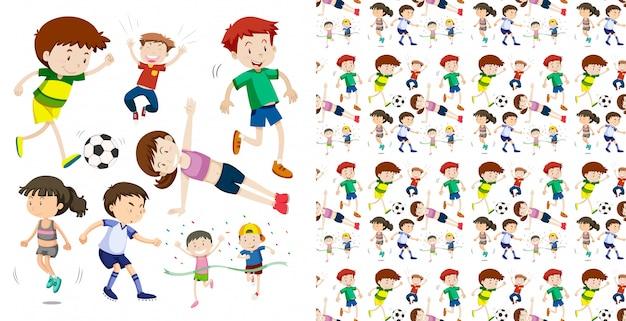 Набор бесшовных спортивных детей, изолированных объектов темы Бесплатные векторы