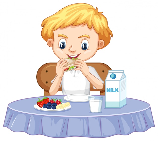 朝食を食べて幸せな少年 Premiumベクター