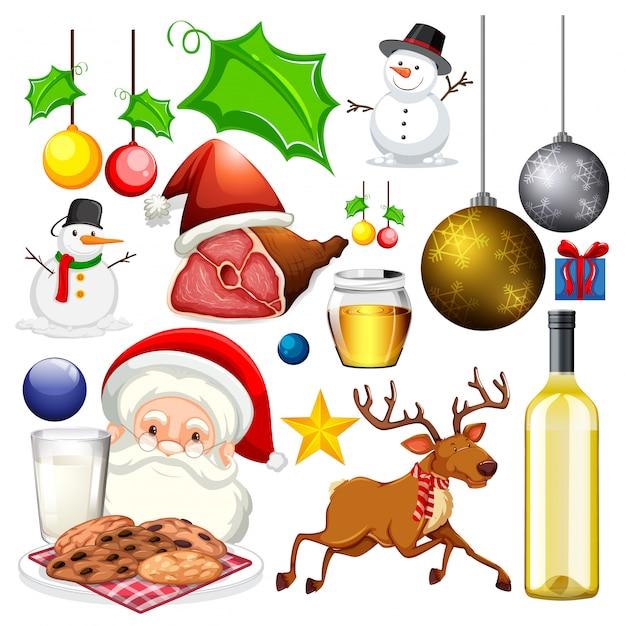 クリスマステーマの孤立したオブジェクトのセット 無料ベクター