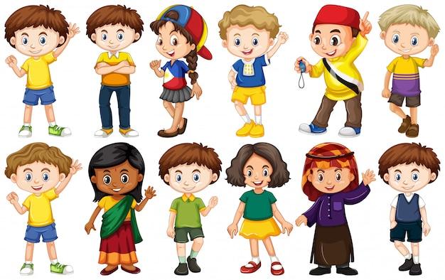 さまざまな国からの子供のセット 無料ベクター