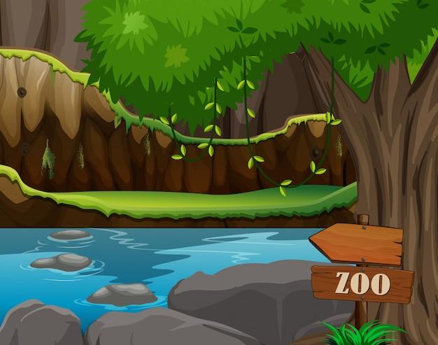 Сцена зоопарка с прудом и деревом Бесплатные векторы