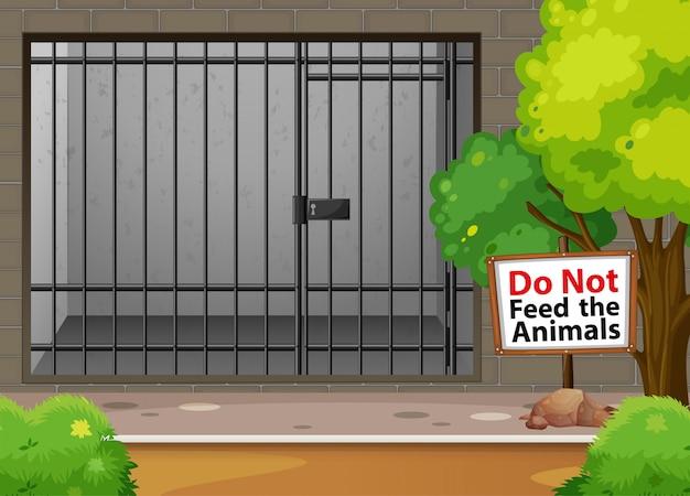 動物園の動物用の大きなケージ 無料ベクター