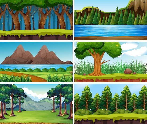 Пустые, пустые пейзажные сцены природы Premium векторы