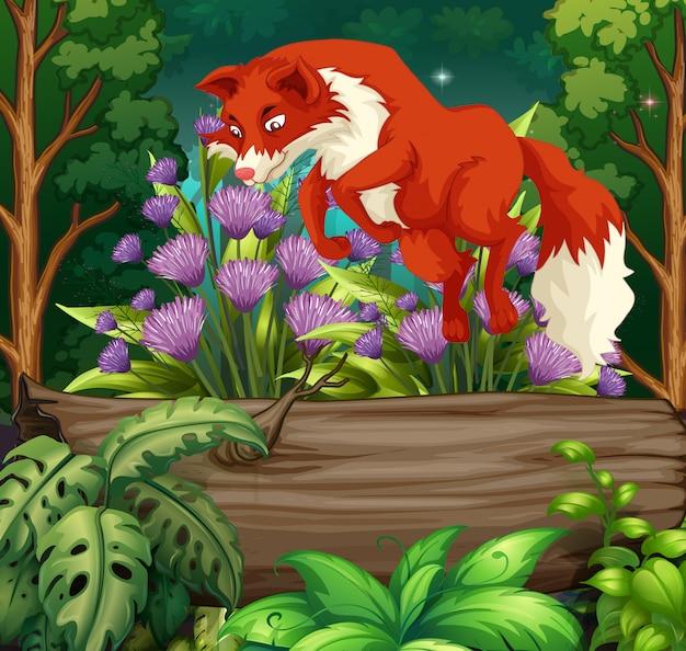 Природа сцена с рыжой лисой, перепрыгивая через бревно Бесплатные векторы
