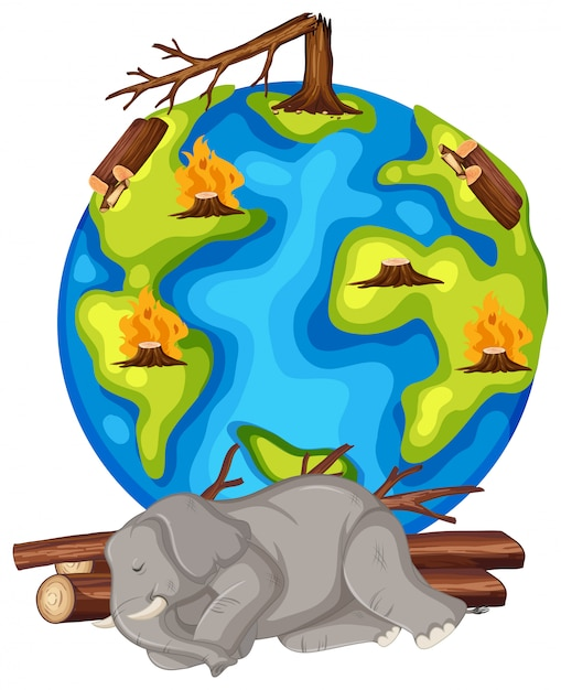 森林破壊と死にかけている動物による地球温暖化 無料ベクター
