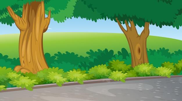 木とフィールドの背景シーン 無料ベクター