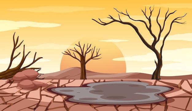 干ばつの土地での森林伐採シーン 無料ベクター