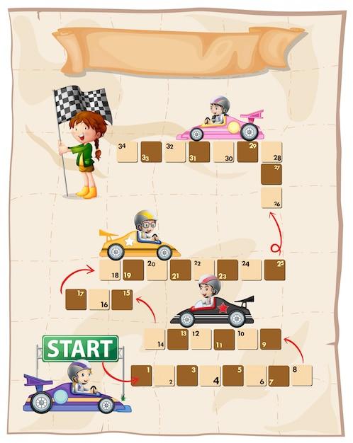 Шаблон настольной игры с гоночными автомобилями Бесплатные векторы