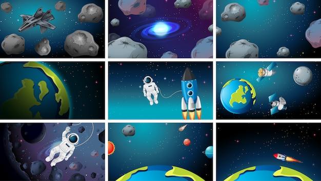Большой набор космических сцен Бесплатные векторы