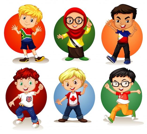 Шесть детей из разных стран Бесплатные векторы