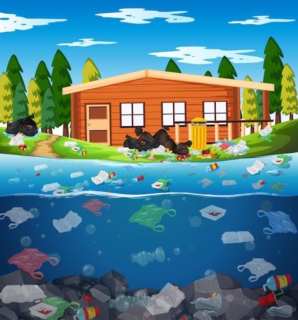 川のビニール袋による水質汚染 Premiumベクター