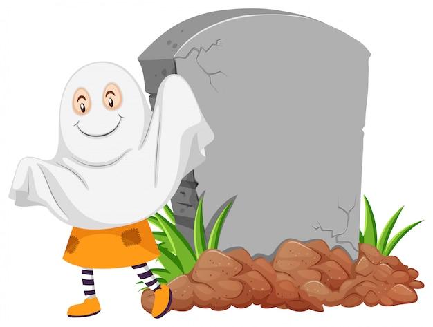 Призрак у могильного камня Бесплатные векторы