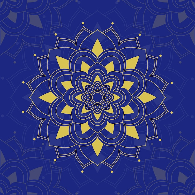 青色の背景にマンダラパターン 無料ベクター