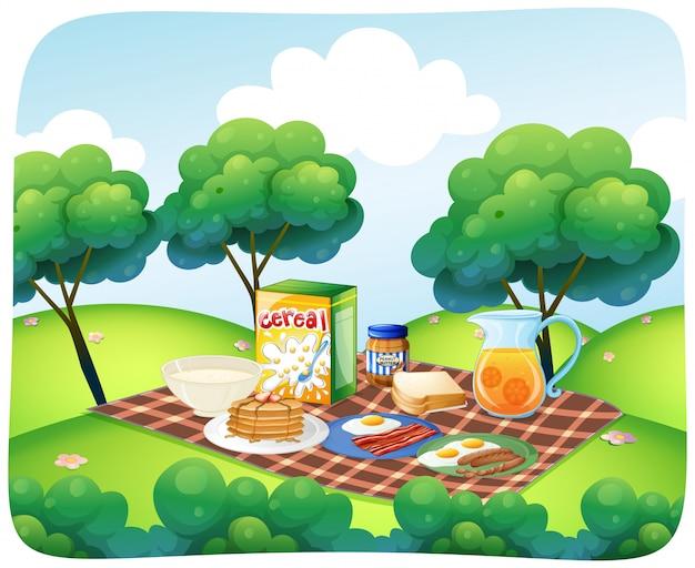 庭で健康的な朝食のシーン 無料ベクター