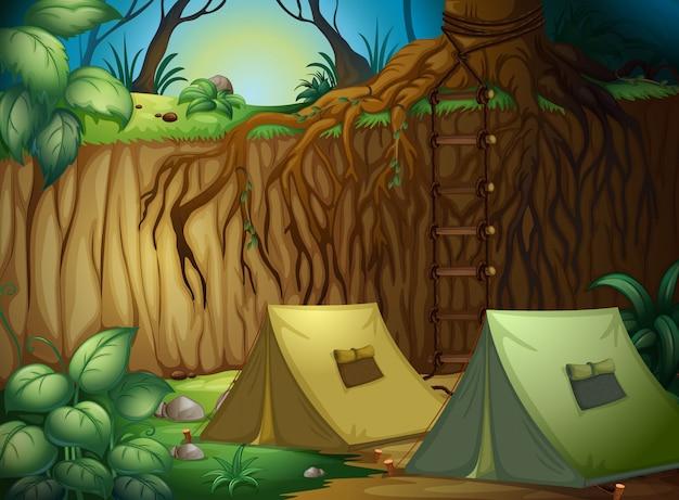 森林でのキャンプ用テント 無料ベクター