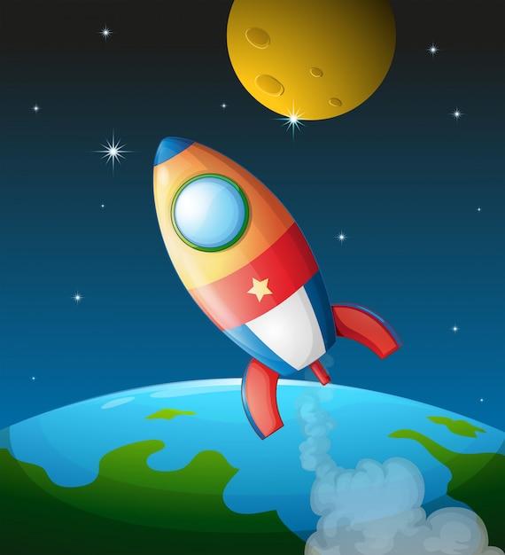 Космический корабль возле луны Бесплатные векторы
