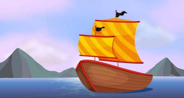 Корабль у океана Premium векторы