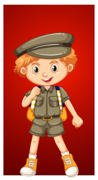 サファリの衣装で幸せな少年 無料ベクター
