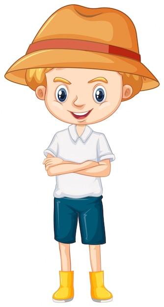 Один счастливый мальчик в коричневой шляпе и сапогах Бесплатные векторы