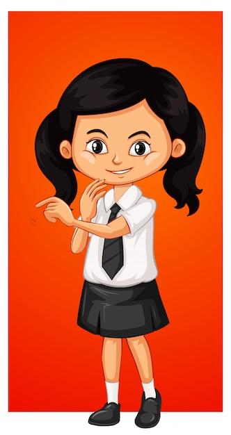 学校の制服を着た幸せな女の子 無料ベクター