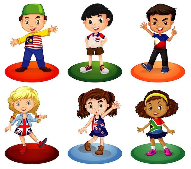 Дети из разных стран мира Бесплатные векторы