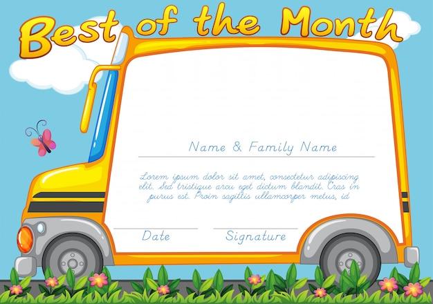 スクールバスの背景を持つ証明書デザイン 無料ベクター