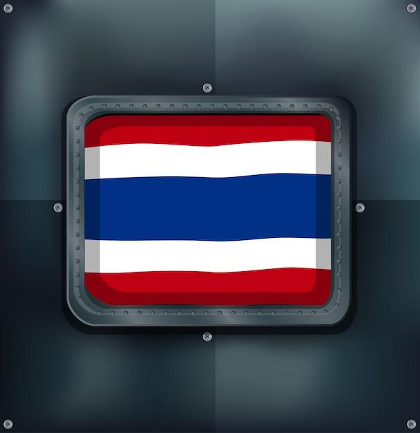 メタリックな背景にタイの旗 無料ベクター
