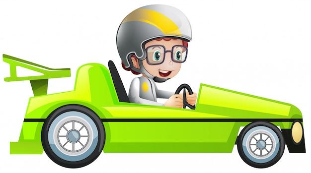 Иллюстрация мальчика в зеленом гоночном автомобиле Бесплатные векторы