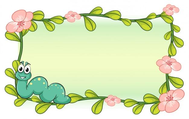 Гусеница и рамка из цветочных растений Бесплатные векторы