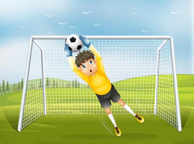 黄色の制服を着たサッカーキャッチャー 無料ベクター