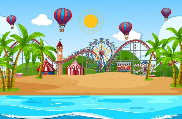ビーチでサーカスとシーンの背景デザイン 無料ベクター